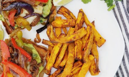 30 Minute Fajita Burgers & Air Fryer Sweet Potato Fries